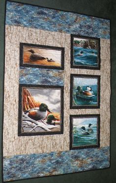 Ducks and Loons Lap Quilt by swanlakequilts on Etsy, $125.00