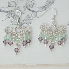 Boucles d'oreilles argent massif, cristal swarovski vert et rose, romantiques
