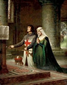 'The Dedication' by Edmund Blair Leighton (1852-1922), featuring a Templar Knight & his Lady