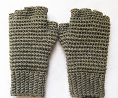 Men's Thermal Fingerless Gloves Crochet Pattern by kickincrochet