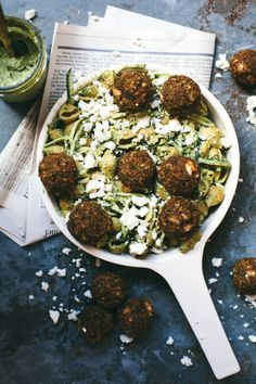 Pesto Pasta With Baked Veggie Meatballs | Community Post: 15 Savory Ways To Take Your Meatball Obsession To The Next Level
