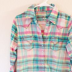 Rock 47 by Wrangler Button Up Top Rock 47 by Wrangler / Medium / Great Condition / Only worn a few times if that / Pink, Turquoise, Yellow, Brown and White / Rhinestone Buttons  ⚡️Fast Shipping⚡️ Open to Fair Offers   Discount off Bundles No Trades or Paypal Smoke Free Home Wrangler Tops Button Down Shirts