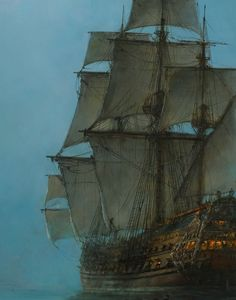 "paintingses: "" "" The Crescent Moon (detail) by Montague Dawson oil on canvas, date unknown (early century maybe? Montague Dawson, Old Sailing Ships, Flying Dutchman, Ship Paintings, Black Sails, Wooden Ship, Wow Art, Ship Art, Wooden Boats"