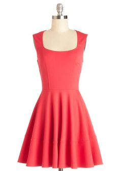 Cute Your Fancy Dress - Coral, Solid, Casual, Fit & Flare, Sleeveless, Better, Knit, A-line, Scoop