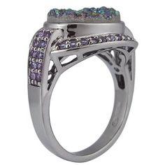 Amazon.com: Ruthenium Plated Sterling Silver Purple Drusy-Quartz and Multi-Stone Ring, Size 7: Jewelry