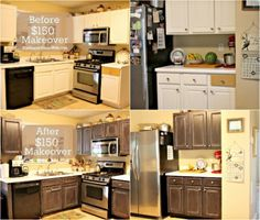Frugal Kitchen Cabinet Makeover at The Happy Housewife THIS KITCHEN LAYOUT!!!