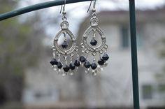 Black & Silver Chandelier Earrings by TheVelvetMannequin on Etsy, $13.00
