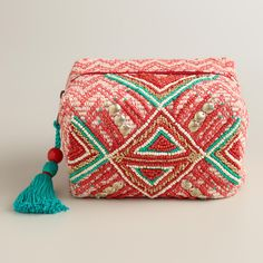 Red Beaded Tribal Pouch   World Market