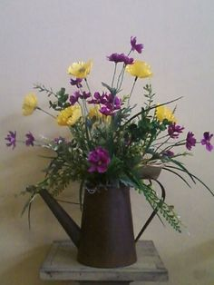 Rusty Water Can Arrangement.... Yellow Poppies & Mini Purple Cosmos Rustic Flower Arrangements, Artificial Floral Arrangements, Silk Flower Arrangements, Rustic Flowers, Floral Centerpieces, Artificial Flowers, Arte Floral, Church Flowers, Florists