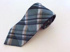 Axcess Neck Tie Green White Brown Black Plaid 100% Silk #Axcess #NeckTie