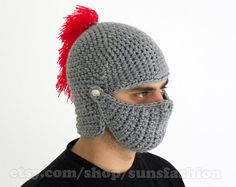 Crocheted Knight Helmet Hat Crochet Slouch Mens Red Convertible Beanie Hat Handmade Winter Men Snowboard Ski Hat unisex