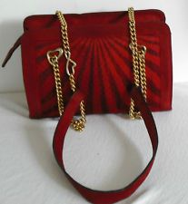 ESCADA Vintage Purse Hand Bag Red Black Suede Leather Gold Chain Heart HapaChico