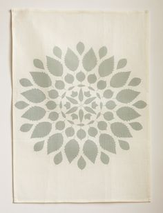 Linen Tea Towel - Mandala in Mineral. $24.00, via Etsy.