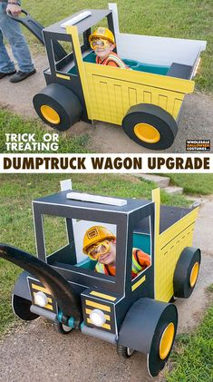 DIY Dumptruck Trick or Treating Wagon Tutorial Getting ready for Halloween is a lot of work. Sometimes, it can even look like a construction zone. Which happens even more so if your little one wants to be a construction worker for Halloween. Wagon Halloween Costumes, Wagon Costume, Wholesale Halloween Costumes, Halloween City, Halloween Costumes For Kids, Halloween Makeup, Halloween Projects, Halloween Nails, Halloween Decorations