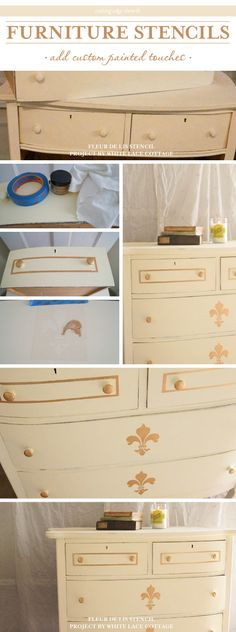 A DIY stenciled dresser using the Fleur de Lis Stencil Stencil Dresser, Stencil Diy, Do It Yourself Projects, Cool Diy Projects, Repurposed Furniture, Painted Furniture, French Poems, Cutting Edge Stencils, Furniture Restoration