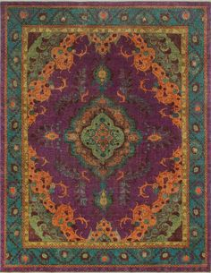Busta Vintage Distressed Overdyed Hand Knotted Wool Purple Area Rug