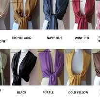 """***** VIEW EACH COLOR CHART and Indicate Color Choices in the """"Note to seller"""" field during checkout.       >>>>>>>Choose Any 5 Scarf Colors    Excellent for Bridal Parties, Special Occasions and Gifts.     Gorgeous scarf is made of Pashmina fabric. Lightweight, tasseled and silky soft. Wears great as a wrap, a shawl or a cowl.     Scarf..."""