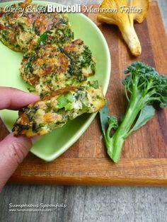 Cheesy Baked Broccoli Mushroom Fritters ~ Sumptuous Spoonfuls #broccoli #mushroom #recipe