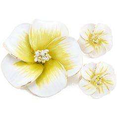 White Yellow Hawaiian Plumeria Swarovski Crystal Flower Pin Brooch And Earrings Gift Set