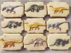 """Cake and cookies by Gabriela on Instagram: """"Dinosaurs cookies  #cakesandcookiesbygabriela #decoratedcookies #cookiesindoha #doha #cakesindoha #dinosaurcookies #dinoparty"""" Dinosaur Cookies, Cookie Decorating, Doha, Dinosaurs, Cake, Ornaments, Instagram, Ideas, Cookies"""