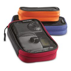 """Organize electronics, cords, chargers, and more with this three piece set of colorful cases. Mesh fronts allow for easy visibility of contents. When empty, bags nest inside one another for easy storage. Large case 8"""" x 6"""" x 1.25"""". Med Case 7"""" x 5"""" x 1.25"""". Small case 6"""" x 3.75"""" x 1.25""""."""