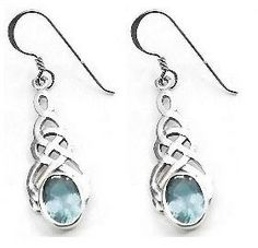 Blue Topaz & 925 Sterling Silver Earrings Celtic Design HJovSxMQHr