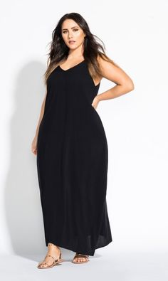 643ce34d07aff V Neck Maxi Dress - black  89  ccworldofcurves Plus Size Maxi Dresses