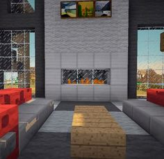 Minecraft Modern Living Room With Sofas Coffee Table And Fireplace