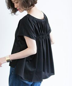 STUDIOUS(ステュディオス)の「【WEB限定】STUDIOUS バックギャザーカットソー【先行予約】(Tシャツ/カットソー)」|ブラック