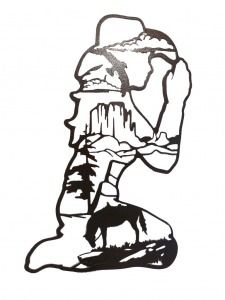 Cowboy Kneeling at Cross | praying cowgirl with mountain scene every cowgirl has to appeal