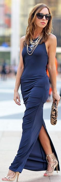 Low key Glam: Navy Split Party Bodycon Maxi Dress, with statement pieces, heels, and a clutch