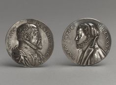 "Portrait Medals: Empress Maria and Emperor Maximillian II, dated 1575  Monogrammed ""AN:AB"" for Antonio Abondio (Italian, 1538–1591)  Silver, uniface"