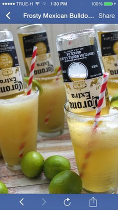 frosty mexican bulldog margarita Des-Chan ~ para mi mama y papa! -Translation- for my mom and dad beer drinks Frosty Mexican Bulldog Margarita Party Drinks, Fun Drinks, Yummy Drinks, Beverages, Yummy Food, Tequila Drinks, Beer Margaritas, Champagne Margaritas, Easy Cocktails