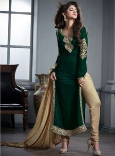 #Green and #Beige Velvet #Churidar #Suit Features a velvet straight kameez with viscos brocket bottom and matching chiffon dupatta.