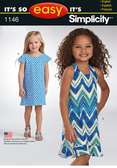 it's so easy pattern for children includes dress with cap sleeves, and halter neck dress.