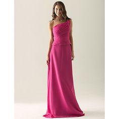 Sheath/ Column One Shoulder Floor-length Chiffon Over Satin Separate Bridesmaid/ Wedding Party Dress – USD $ 97.99