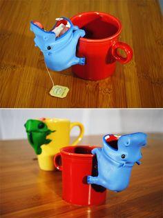 Tea bag steeper by Tepfenhart Design - Hippo Diy Hanger, Hippopotamus For Christmas, Cute Hippo, Gadgets, Cute Kitchen, My Tea, Tea Accessories, Tea Time, Tea Pots