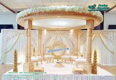Indian Wedding Wooden Look Fiber Mandap – Mandap Exporters Wedding Mandap, Wedding Stage, Deco Paint, Four Tops, Wedding Decorations, Wedding Ideas, Walkway, Decorative Items, Bride Groom