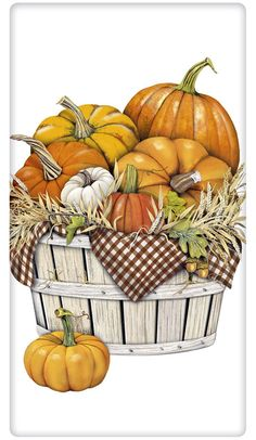 Pumpkin Harvest Basket 100% Cotton Flour Sack Dish Towel Tea Towel