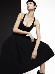 #EmporioArmani black wool dress