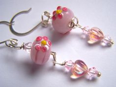 Pink White Floral Lampwork Glass Valentine Dangle Earrings Doodaba