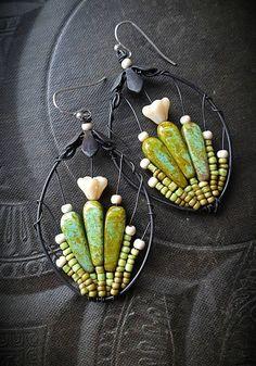 Blooming Cactus, Flowers, Hoops, Artisan Made, Cactus, Southwest, Desert, Summer, Spring, Glass, Organic, Rustic, Unique, Beaded Earrings