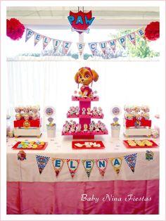Creativa idea de decoración para fiesta temática de la Patrulla Canina. #party#fiesta #Pawpatrol