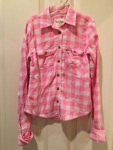 Little Girls Pink Plaid Abercrombie Long-Sleeve Button Up Shirt Size Small