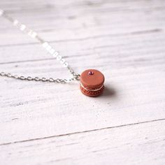 Mini Brown Macaroon Pendant Handmade Necklace Polymer Clay Miniature Food Jewelry