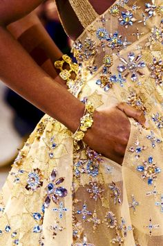 """""""Elie Saab Couture S/S 2017 """"... Beautiful embellished fabric. Another option is to embellish simple fabric. Embellish to fit the wedding theme."""