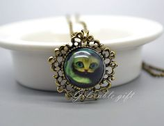 Alice in Wonderland Cheshire Cat necklace,Cat Picture Pendant Photo Pendant Necklace Jewelry