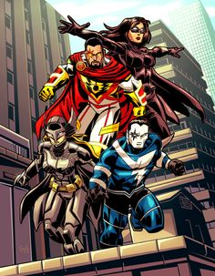 4 Heroes on Rooftop - Commish by EryckWebbGraphics on DeviantArt