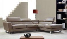 Vig Furniture Divani Casa Waltz Beige Leather Sectional Sofa