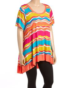 Loving this CANARI Teal & Pink Stripe Hi-Low Tunic - Plus on #zulily! #zulilyfinds
